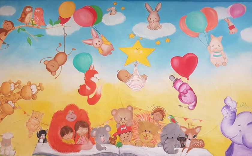 mural painting for babys room rabbits monkey elephant blue yellow color painting by Sura karnawi
