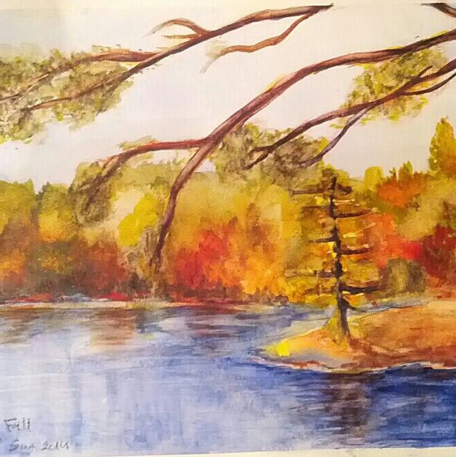Canada fall - watercolor painting by sura karnawi