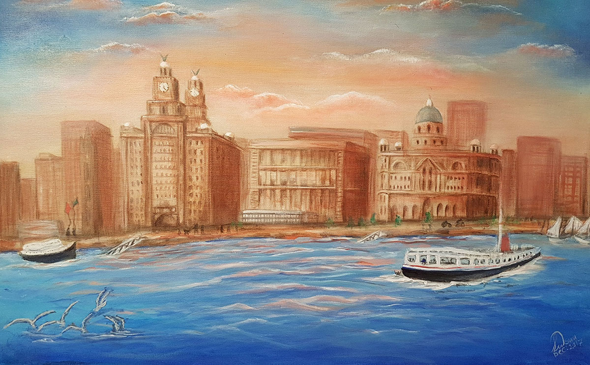 Liverpool 3 Graces and Mersey ferry acrlic painting by Sura Karnawi