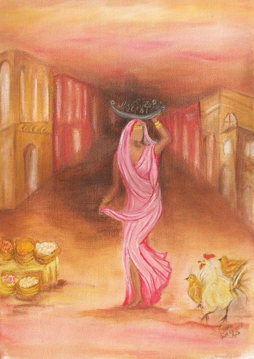 worries thoughts worried woman Iraqi painting by Sura Karnawi